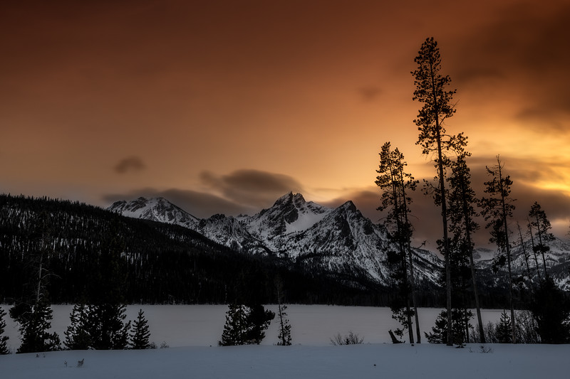 After sundown Stanley Lake winter