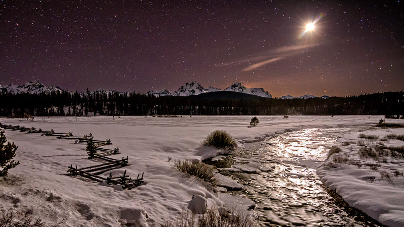 Cold snow covered winter night near Stanley Idaho