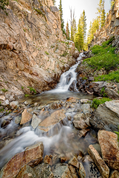 Waterfall in Creek from Twin Lakes to Alice Lake Idaho