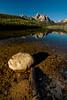 Warm morning light on Staley Lake reflection