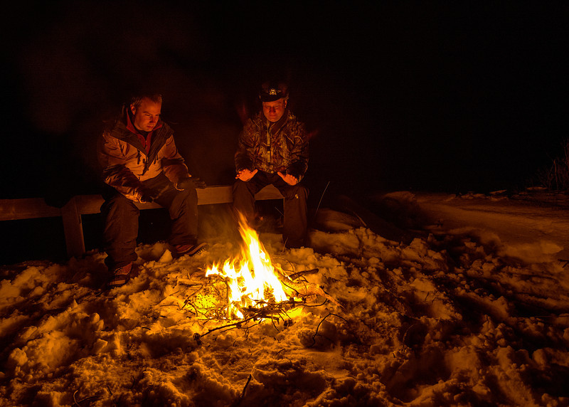 Warming by Campfire Stanley Lake winter