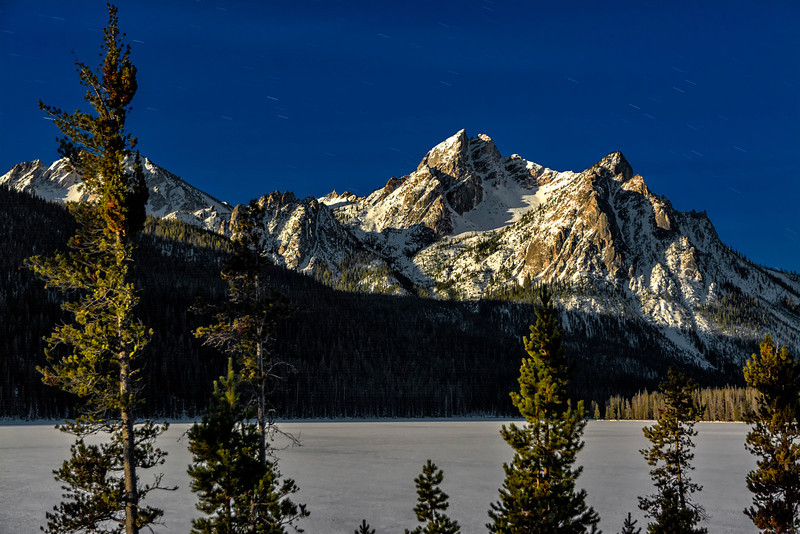 McGown Stanley Lake winter night by moon light
