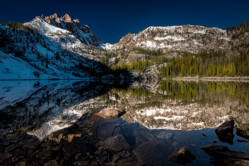 Upper Bench Lake morning reflection first snow
