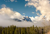 Clear fog around a high mountain peak