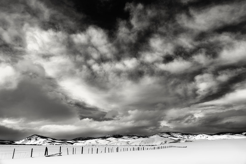 Dramatic clouds over Stanley Idaho winter