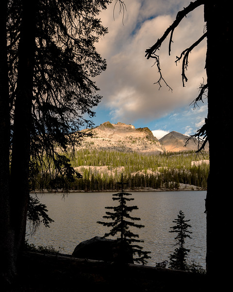 Imogene Lake Idaho with mountain peak and clouds