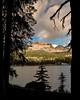 Imogene Lake Idaho with mountain peak and clouds