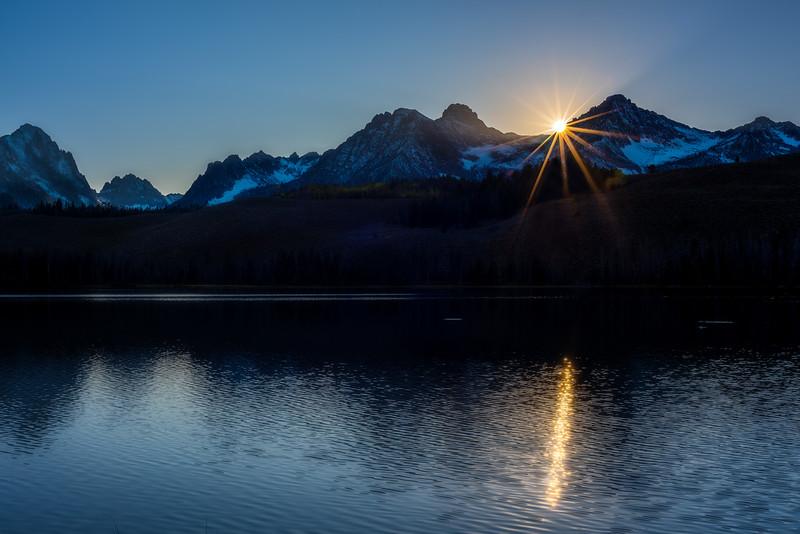 Sunset star over Redfish Lake in Idaho
