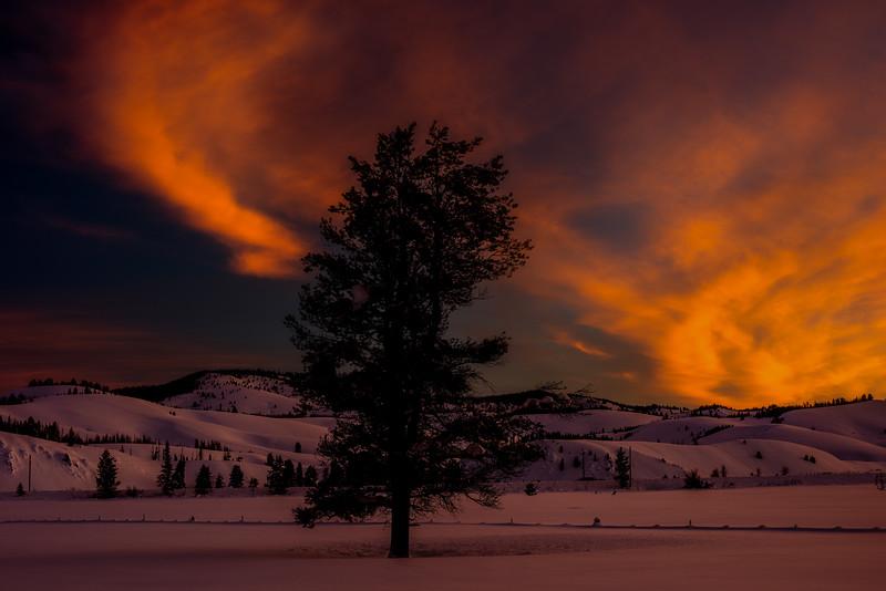 Sunrise near Stanley Idaho in the winter