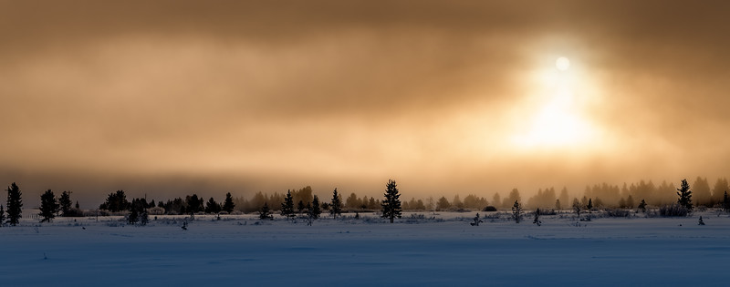 The sun rises through the for on a snow winter morning