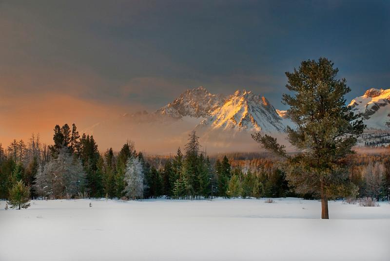 Winter sunrise in the Sawtooths of Idaho