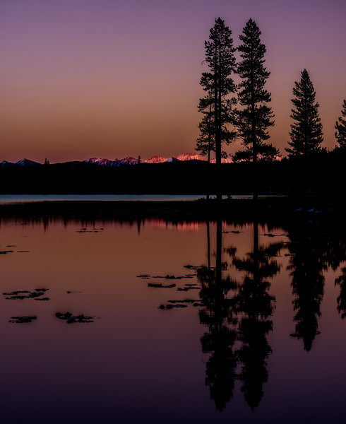 Bench Lake in the Sawtooth National Forest at sunset silhouette