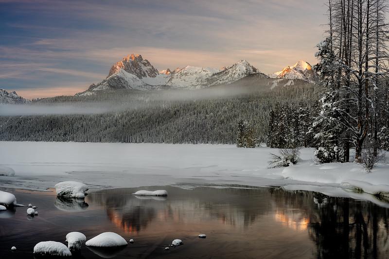 Sunrise on Redfish Lake in winter