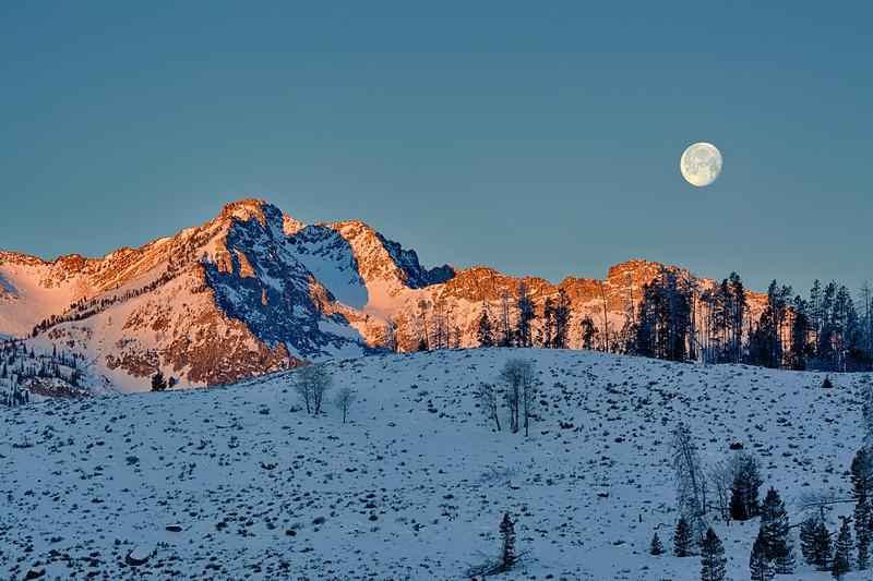 Full moon over Little Redfish Lake winter