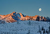 Full moon over Little Redfish Lake winter