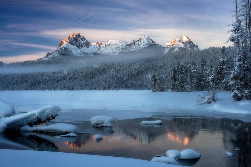 First winter morning light on mount Heyburn