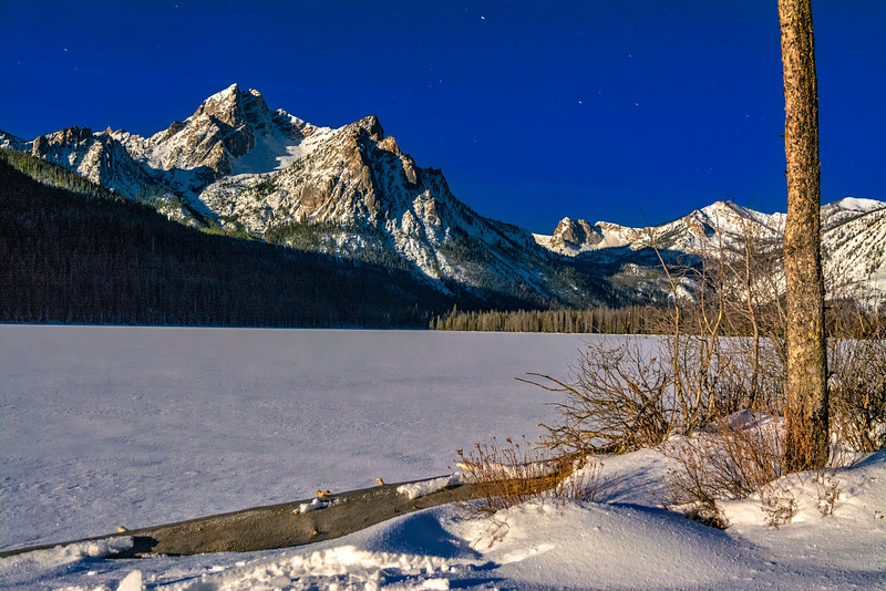 Stanley Lake winter night moonlight