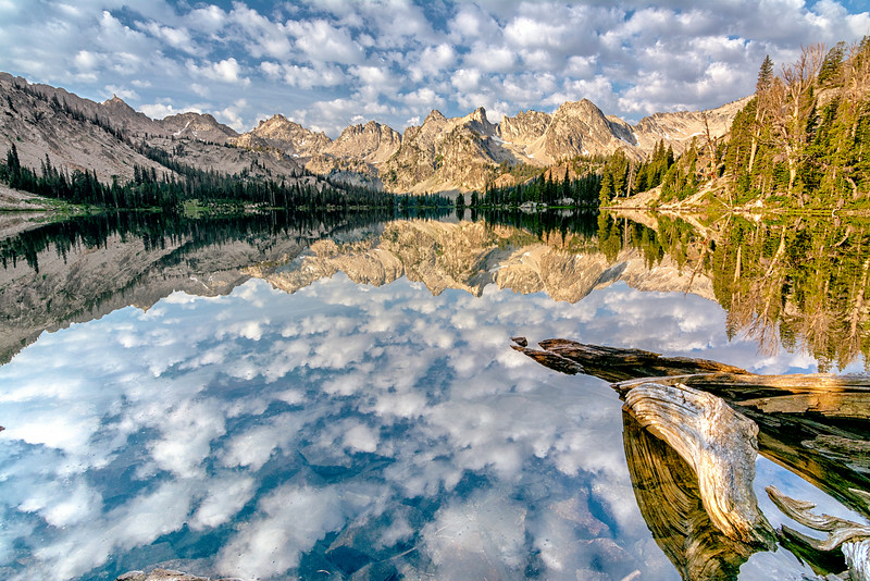 Alice Lake morning with puffy clouds