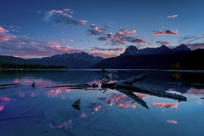 Colorful sunset and reflection Redfish Lake Idaho