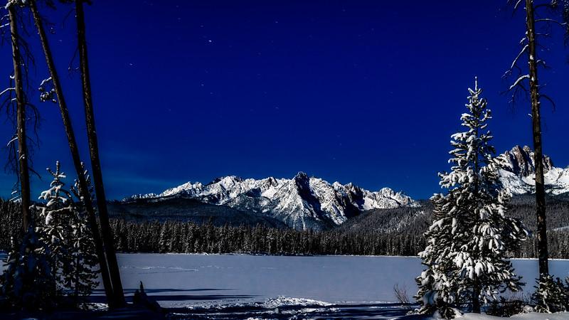 Grand Mogul beyond Little Redfish Lake night