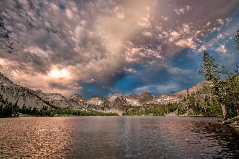 Churning clouds over Alice lake sunrise
