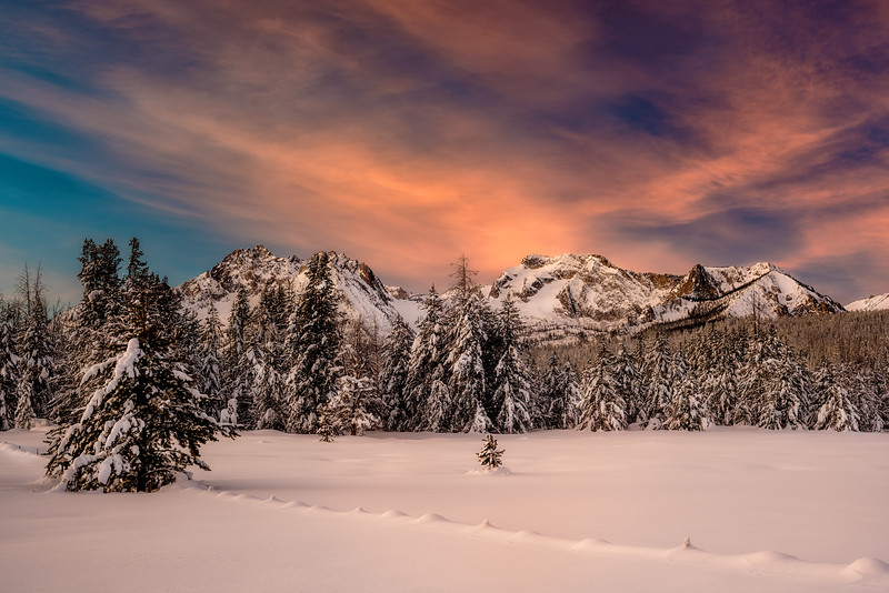 Winter sunrise over Williams peak in the Sawtooths of Idaho