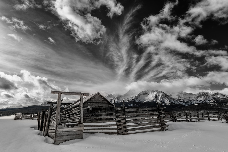 Stanley Corral  winter Sawtooths and wispy clouds