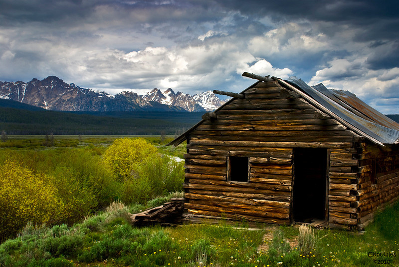 Old log cabin in the Sawtooth Mountains of Idaho