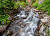 Mountain stream water fall over logs and rocks