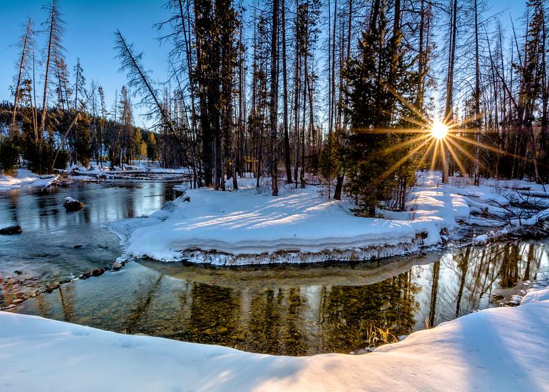Little Redfish creek near sundown with sunstar