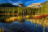 Early morning light at lower Bench Lake Sawtooth mountains Idaho