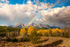 Rainbow over the Sawtooth Mountains in the fall