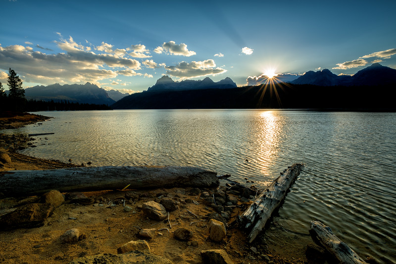 Sunstar and shore Redfish Lake near Stanley Idaho