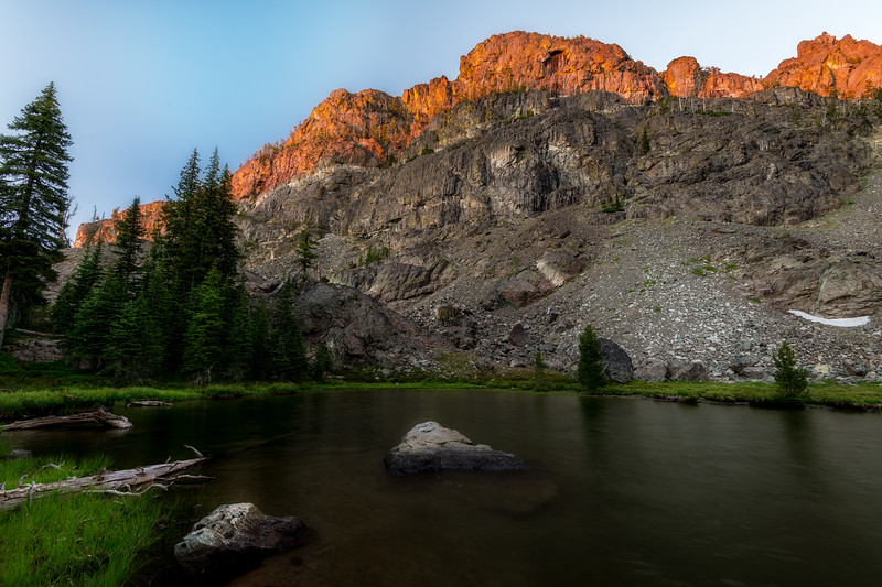 Pond near Sheep Lake at sunset showing hiking trail