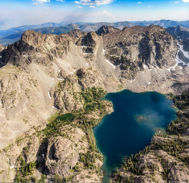 Aerial view of Sheep Lake in the Seven Devils