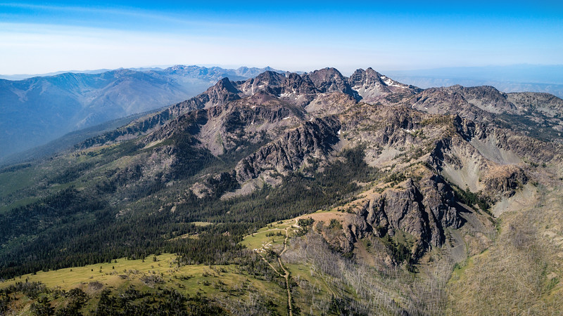 Seven Devils Mountain Range in Central Idaho Aerial View