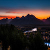 Sunset over the Snake river against the Grand Tetons