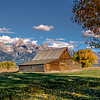 Classic barn and Tetons fall morning