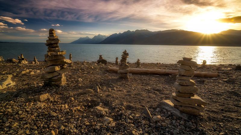 Stacked rocks on the shore of Jackson Lake Teton Valley