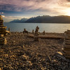 Stacked rocks on the shore of Jackson Lake Teton Valley