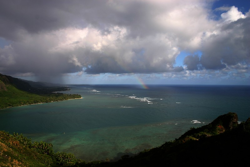 Beautiful rainbowin a Bay in Oahu Hawaii