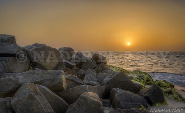 Beach Rocks & Sunset at North Sinai coast, Egypt.
