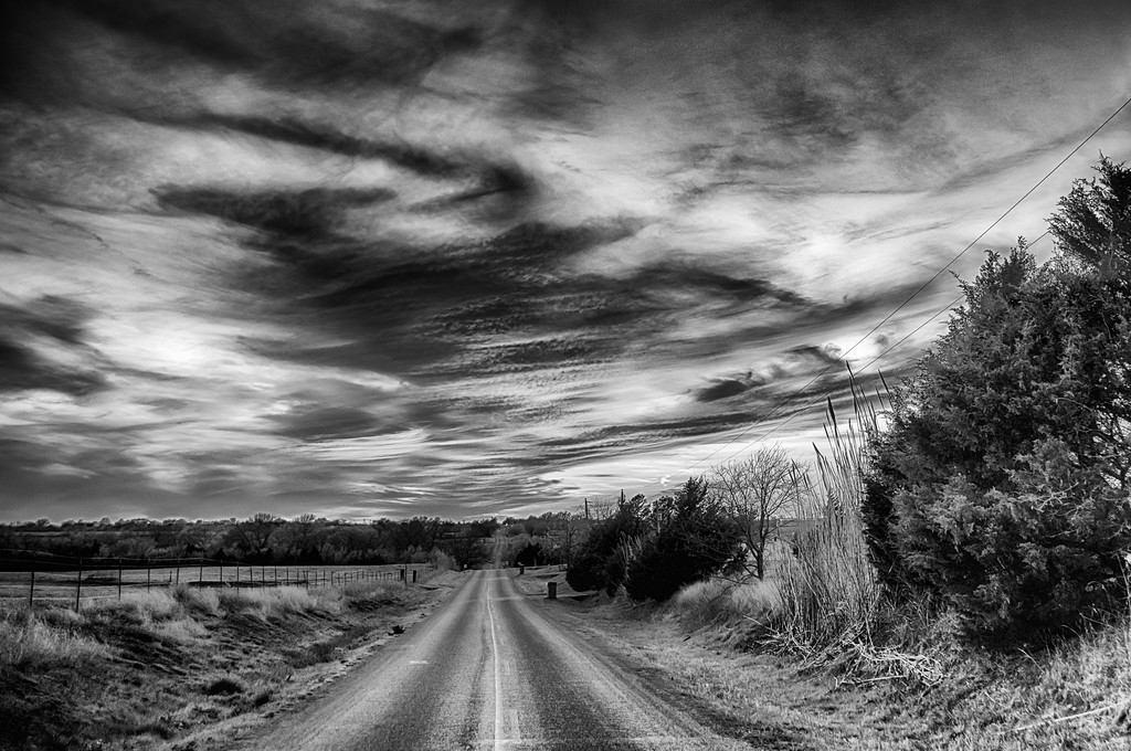 Country Road Sunset - B&W