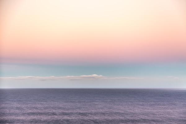 Dawn on the Pacific Ocean.