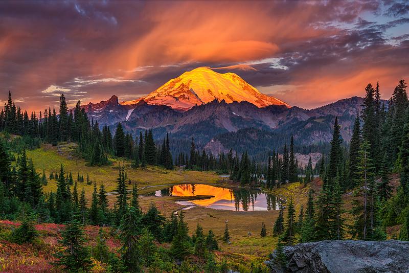 #303 Tipsoo Lake Sunrise, Mt. Rainier Natl. Park, WA