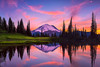 #302 Tipsoo Lake sunset, Mt. Rainier Natl. Park, WA