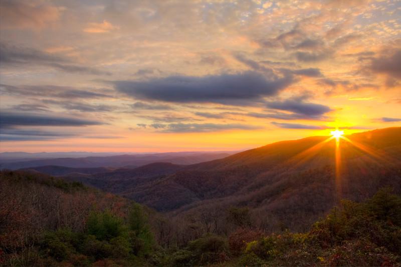 Sunset on the Blue Ridge Parkway near the VA/NC border