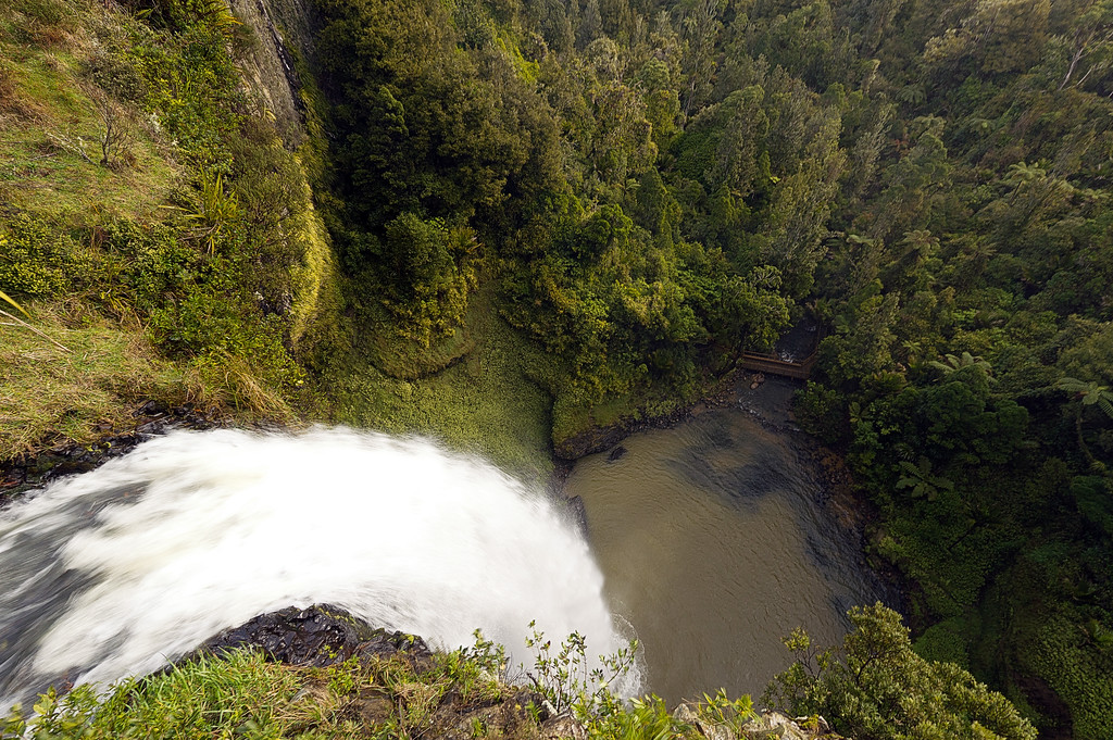 Bridal Falls just to the south east of Mt Karioi. 50 odd meter drop to the bottom.