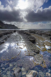 Rock formations and rock pools near Goat Island.