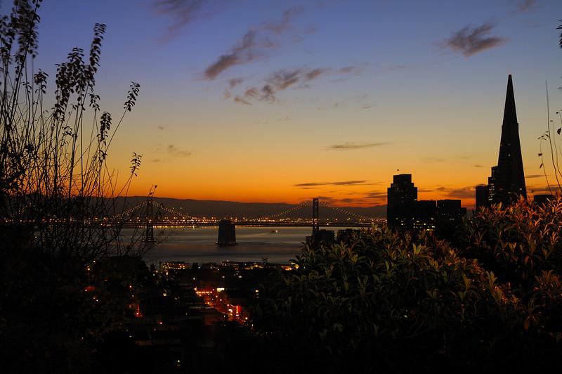 San Francisco & Bay Bridge at sunrise